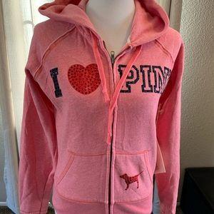 NWT Pink Victoria Secret Bling Heart Medium hoodie